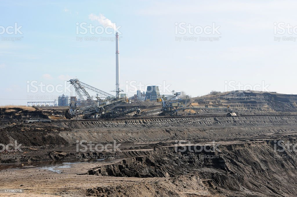open Strip Coal mine with power station stock photo