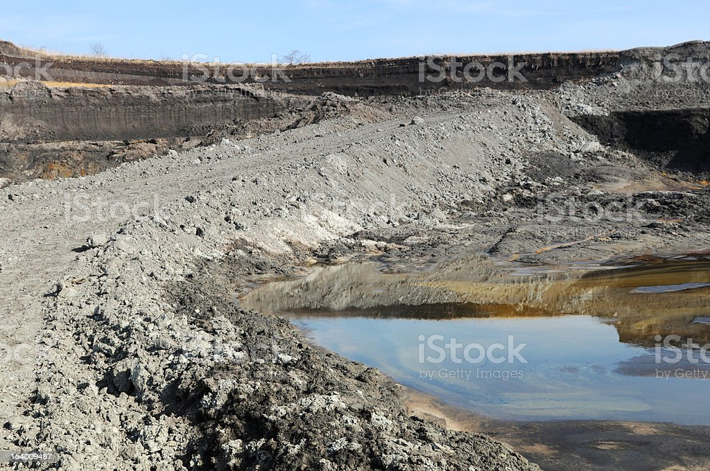 open Strip Coal mine with water reflection in a slurry stock photo