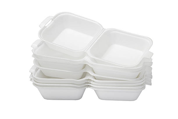 Open Styrofoam Boxes Stack of Open Styrofoam Boxes on White Background polystyrene stock pictures, royalty-free photos & images