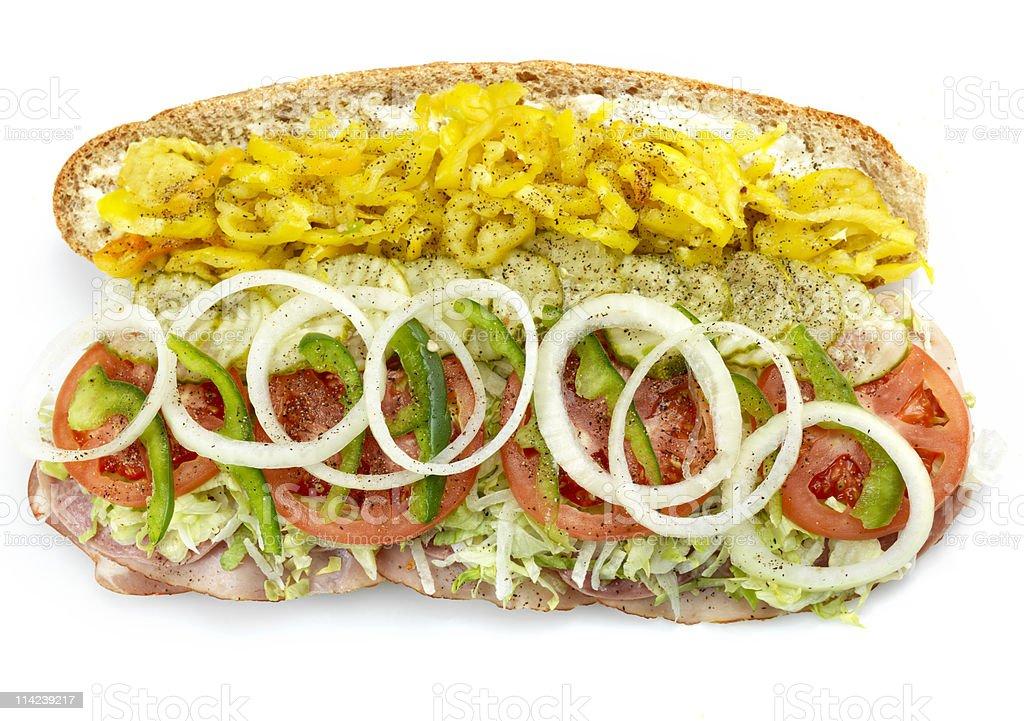 Open submarine sandwich close up stock photo