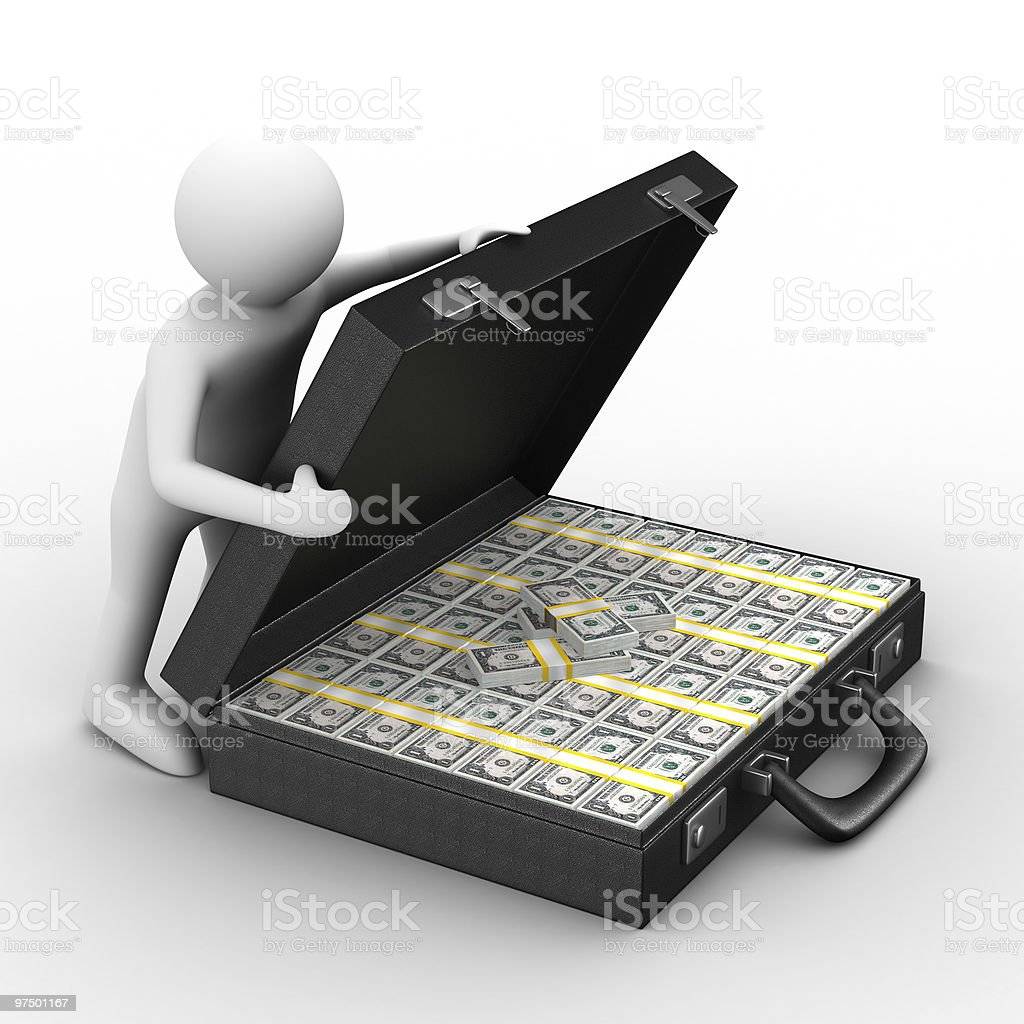 Open suitcase with dollars on white background. Isolated 3D imag royalty-free stock photo