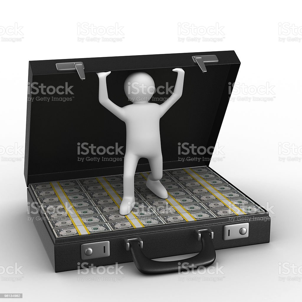 Open suitcase with dollars on white background. Isolated 3D image royalty-free stock photo