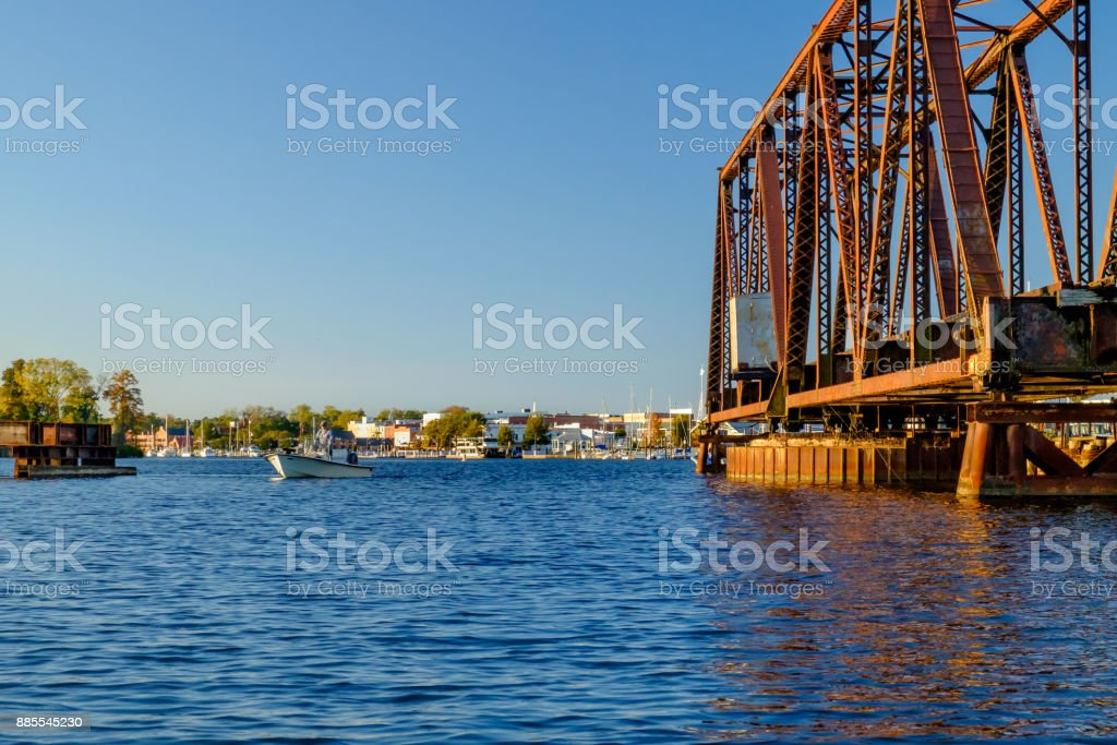 Open Swing Bridge with Fisherman stock photo