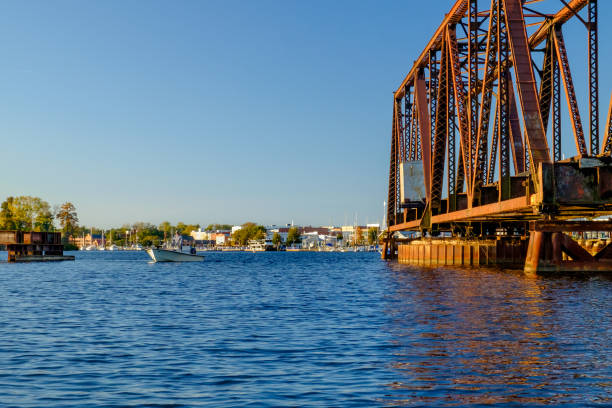 Open Swing Bridge with Fisherman stock photo