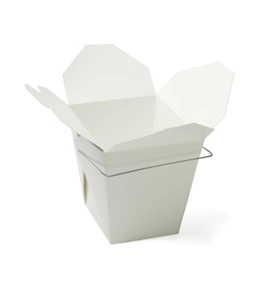 Open Takeaway Food Containers Empty Chinese Takeaway Food Containers on White Background chinese takeout stock pictures, royalty-free photos & images
