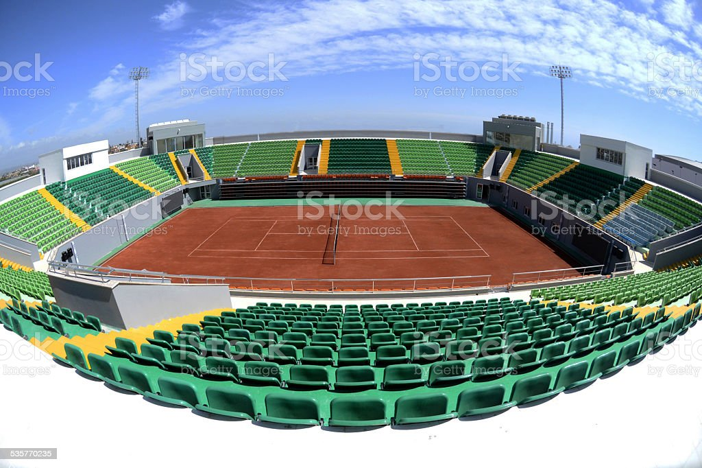 open tennis courts stock photo