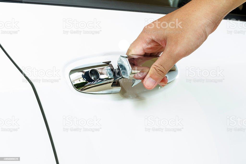 Open the car door stock photo