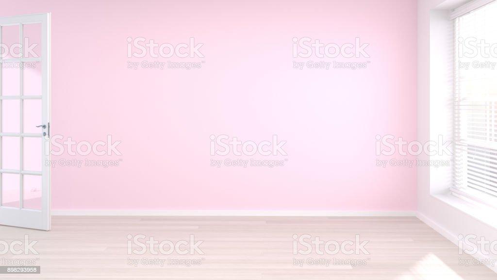 Photo de stock de Ouvrir La Porte De Chambre Rose Vide Blanc Et ...