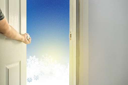 open the door to snowflake  and winter season background - can use to display or montage on product