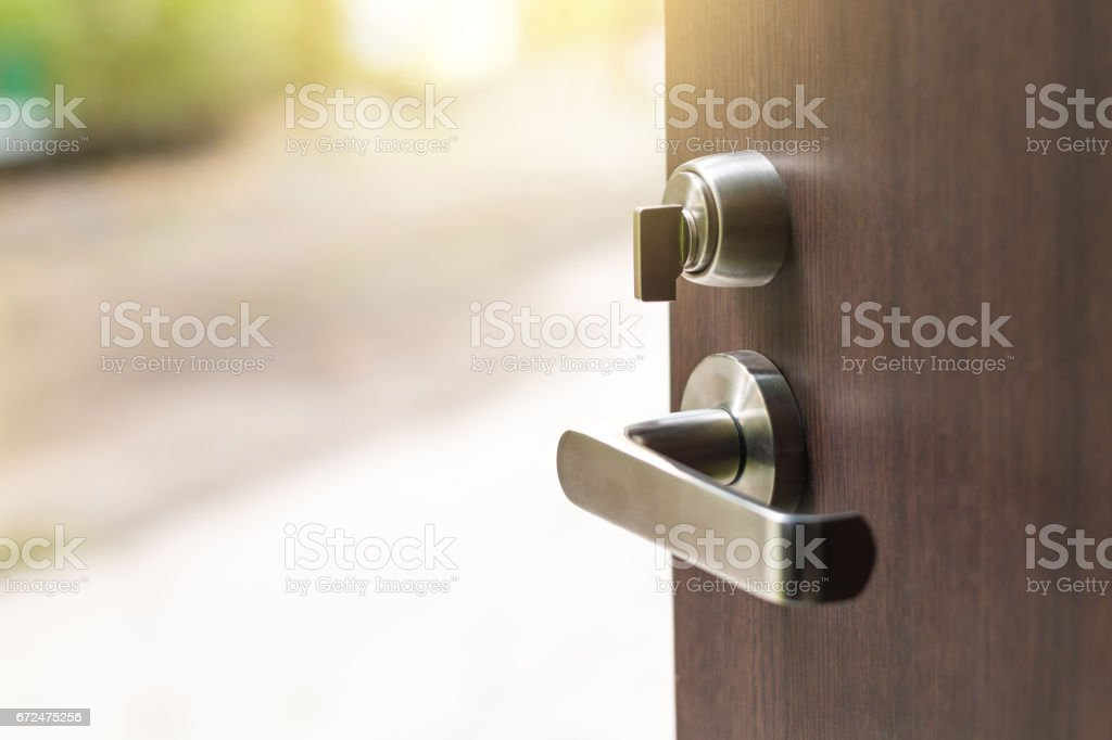 Open the modern wooden door stock photo