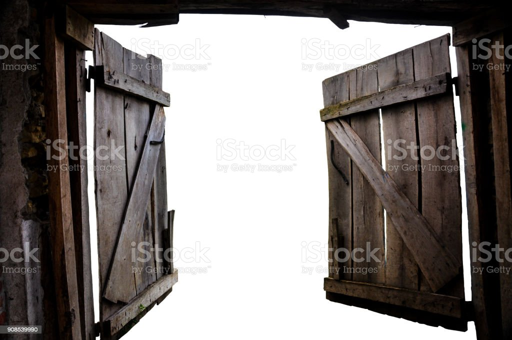 Open the old gate into the unknown stock photo