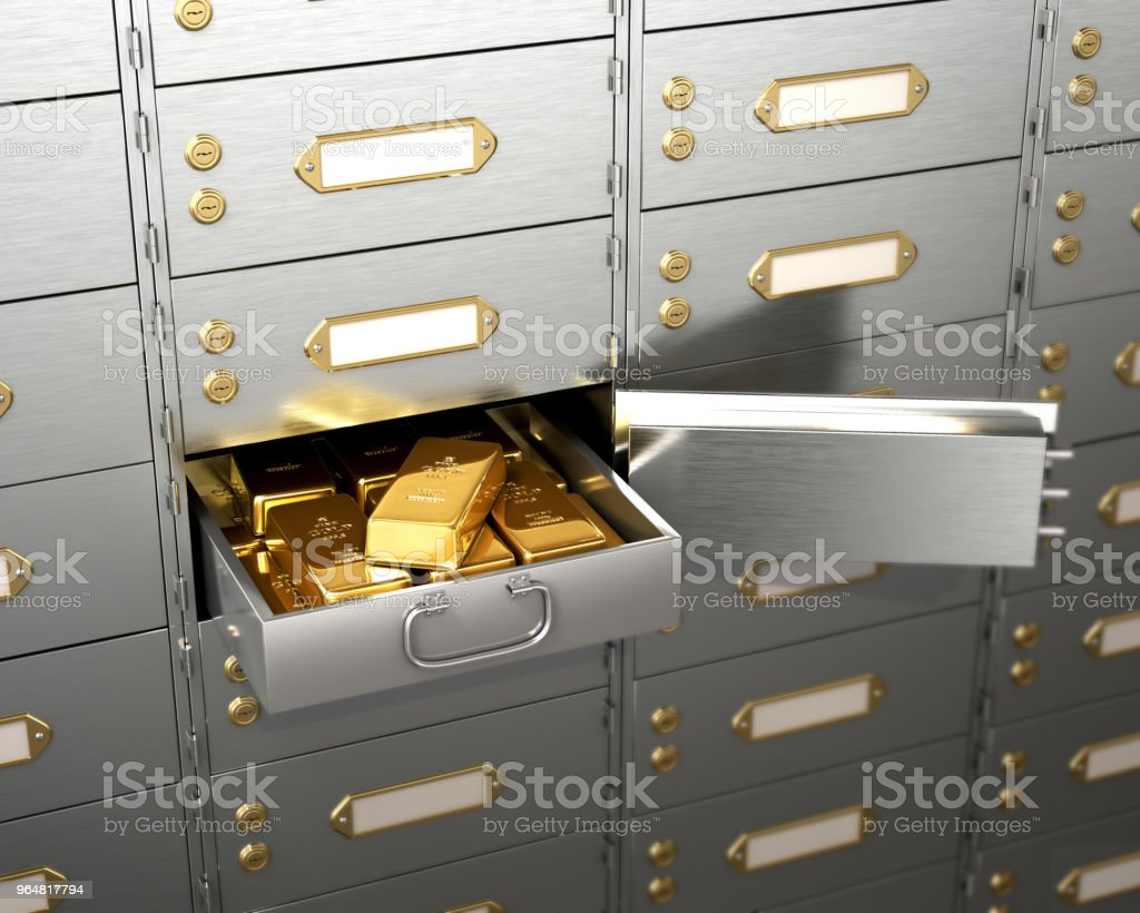Open the safe with gold bars. 3d illustration royalty-free stock photo
