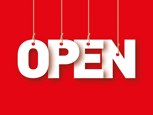 open, the word of the letters hanging on the ropes - open sign stock pictures, royalty-free photos & images