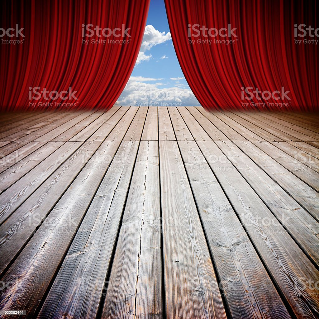 Open theater red curtains and wooden floor stock photo