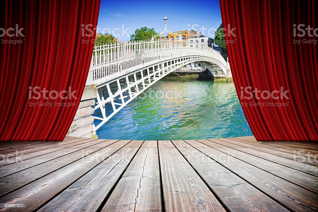Open theater red curtains with Dublin's bridge stock photo