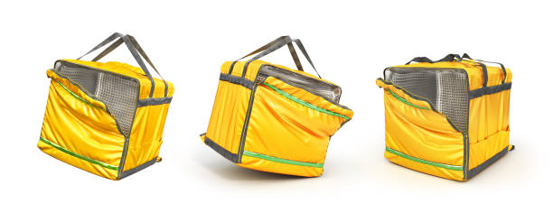 Open thermal backpack for contactless food delivery to customers home. Online ordering food. 3d illustration stock photo