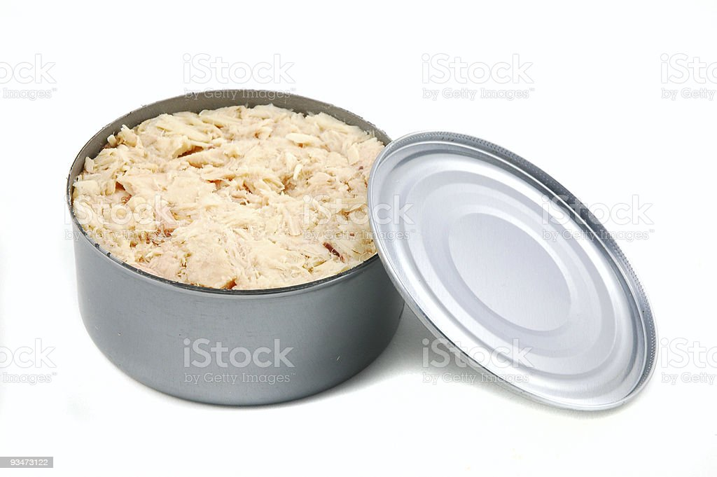 Open tin filled with white flaked tuna royalty-free stock photo