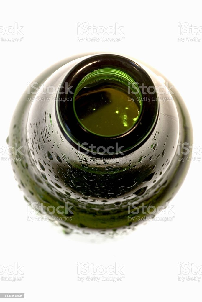 Open top of beer bottle, close up stock photo
