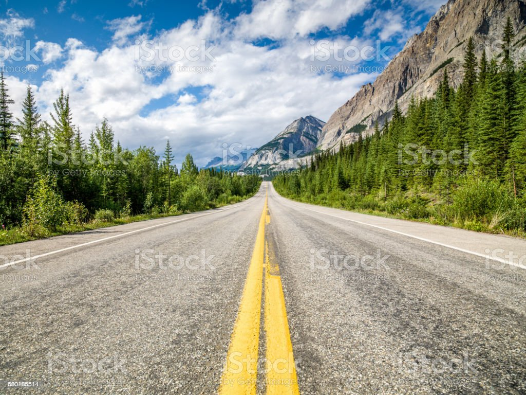 Open Trans-Canada Highway Canadian Rocky Mountains stock photo