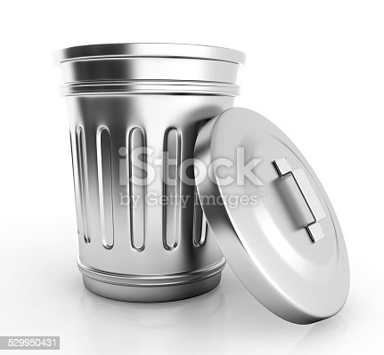 istock open trash can isolated on white. 529950431