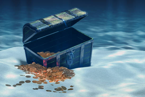 Open treasure chest with gold coins underwater, 3D rendering Open treasure chest with gold coins underwater, 3D rendering sunken stock pictures, royalty-free photos & images
