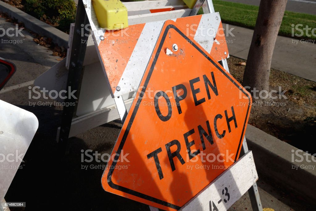 open trench sign stock photo