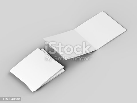 887572514 istock photo Open tri-folded leaflet in square format 1159040818