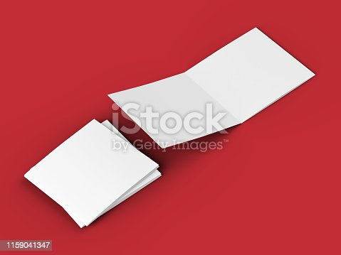 887572514 istock photo Open tri-folded leaflet in square format 1159041347