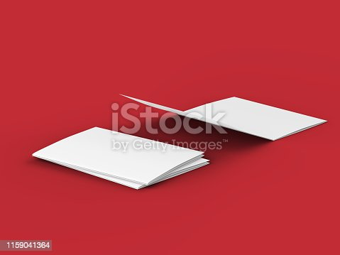887572514 istock photo Open tri-folded leaflet in square format 1159041364