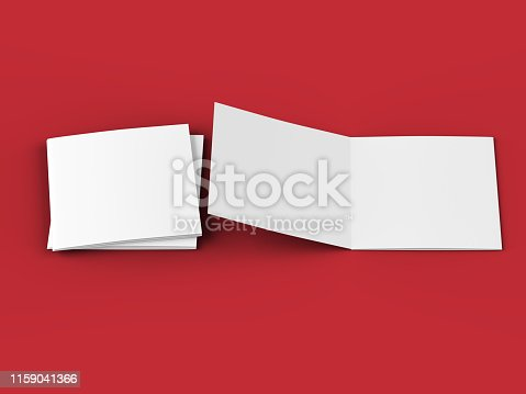 887572514 istock photo Open tri-folded leaflet in square format 1159041366