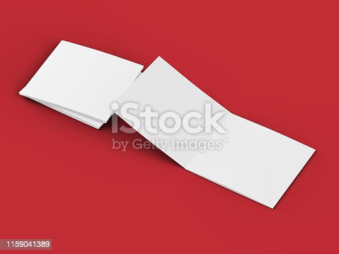 887572514 istock photo Open tri-folded leaflet in square format 1159041389