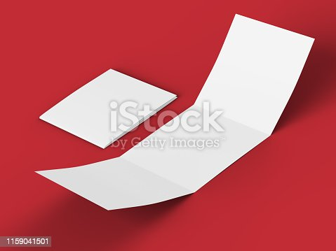 887572514 istock photo Open tri-folded leaflet in square format 1159041501