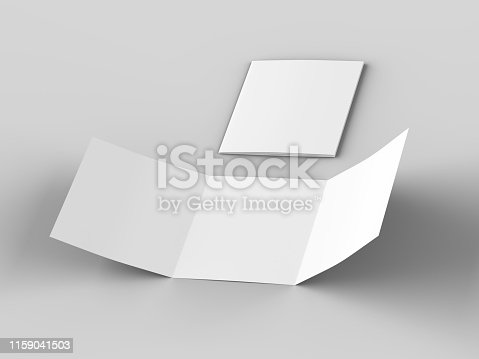 887572514 istock photo Open tri-folded leaflet in square format 1159041503