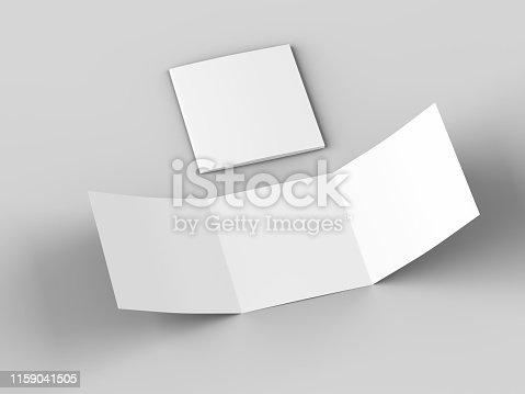 887572514 istock photo Open tri-folded leaflet in square format 1159041505