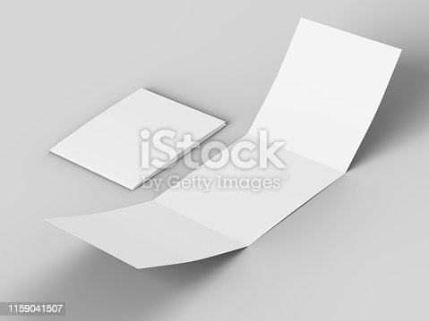887572514 istock photo Open tri-folded leaflet in square format 1159041507