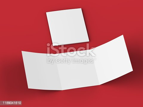 887572514 istock photo Open tri-folded leaflet in square format 1159041510