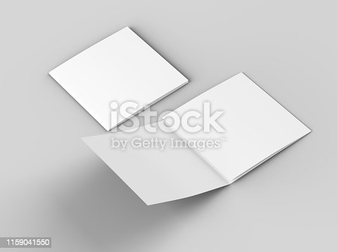 887572514 istock photo Open tri-folded leaflet in square format 1159041550