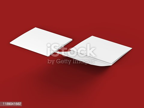 887572514 istock photo Open tri-folded leaflet in square format 1159041552