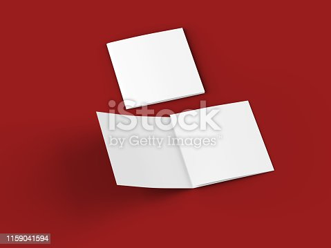 887572514 istock photo Open tri-folded leaflet in square format 1159041594