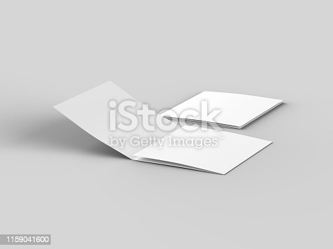 887572514 istock photo Open tri-folded leaflet in square format 1159041600