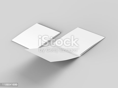 887572514 istock photo Open tri-folded leaflet in square format 1159041699