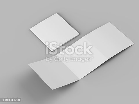 887572514 istock photo Open tri-folded leaflet in square format 1159041701