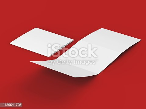 887572514 istock photo Open tri-folded leaflet in square format 1159041703