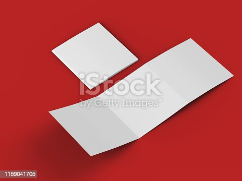 887572514 istock photo Open tri-folded leaflet in square format 1159041705