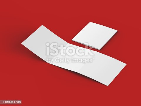 887572514 istock photo Open tri-folded leaflet in square format 1159041738