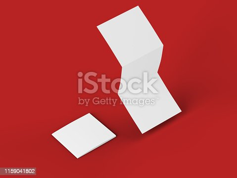 887572514 istock photo Open tri-folded leaflet in square format 1159041802