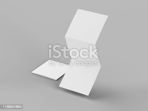 887572514 istock photo Open tri-folded leaflet in square format 1159041804