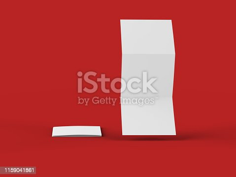 887572514 istock photo Open tri-folded leaflet in square format 1159041861
