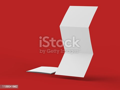 887572514 istock photo Open tri-folded leaflet in square format 1159041862