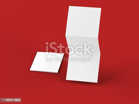 887572514 istock photo Open tri-folded leaflet in square format 1159041863